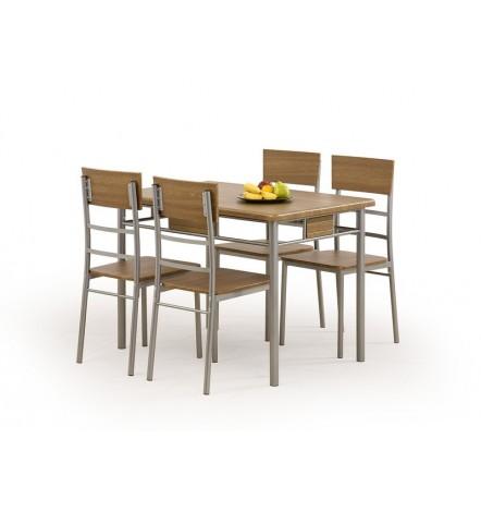 Salle à manger NATAN + 4 chaises en noyer