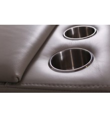 Canapé d'angle en cuir de buffle GALIA 310 cm avec portes verre et port USB