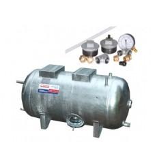 Réservoir surpresseur à eau horizontal galvanisé 100L 6 bar avec accessoires