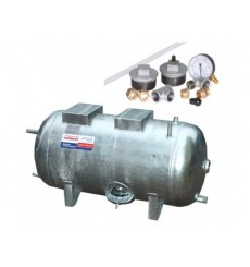 Réservoir surpresseur à eau horizontal galvanisé 200L 6 bar avec accessoires
