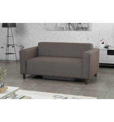 Canapé 2 places HUGO 147 cm revêtement en similicuir gris