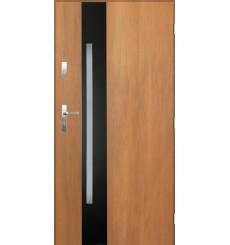 Porte d'entrée GOTAN 90 cm en acier inoxydable couleur chêne doré
