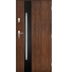 Porte d'entrée GOTAN 90 cm en acier inoxydable couleur Noyer