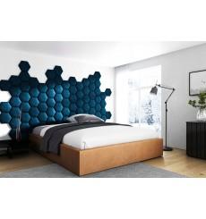 Panneau capitonné pour revêtement mural nid d'abeille bleu