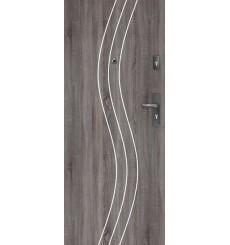 Porte d'entrée FADIA 80 cm H1 CPL chêne gris avec judas optique et tirant