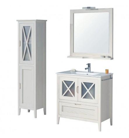 Ensemble meubles salle de bain en pin massif ALASKA Blanc en plusieurs dimensions