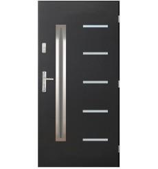 Porte d'entrée CANCUN V 90 cm en acier inoxydable en plusieurs couleurs avec tirant