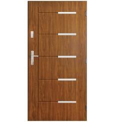 Porte d'entrée CANCUN  90 cm avec tirant en acier inoxydable en plusieurs couleurs