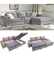 Canapé d'angle convertible BOSSA 242x167 cm