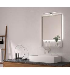 Miroir MARGARITA cadre en métal avec tablette , lumineux à LED, inox, plusieurs dimensions