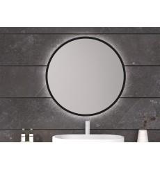 Miroir BEQUIA cadre en métal, lumineux à LED, noir texturé, plusieurs dimensions