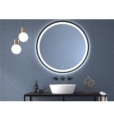 Miroir SEYCHELLES cadre en métal, lumineux à LED, noir texturé, plusieurs dimensions