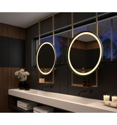 Miroir SEYCHELLES cadre en métal avec support de plafond et tablette, lumineux à LED, doré, plusieurs dimensions