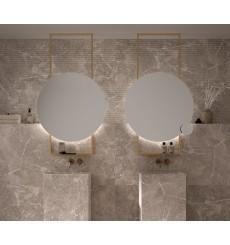 Miroir TENERIFE avec support de plafond et tablette, lumineux à LED, doré, plusieurs dimensions