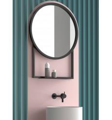 Miroir BOMBAY rond avec tablette, noir mat, plusieurs dimensions