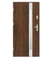 Porte d'entrée KALA 90 cm H1 en acier inoxydable noyer foncé