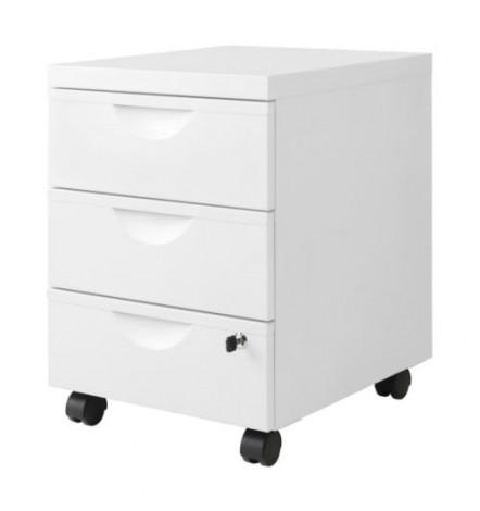 Tiroirs de rangement bureau en métal ESSEN 3 tiroirs blanc