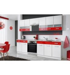 Ensemble cuisine RICHIE 260 cm frêne blanc et rouge