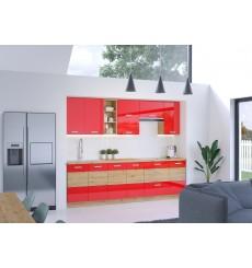 Cuisine ARTISAN rouge brillant et chêne 260 cm