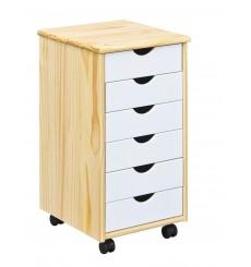 Caisson bureau PILAR 6 tiroirs en bois bicolore 36x65 cm