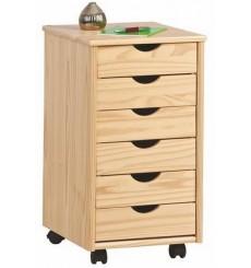 Caisson bureau PILAR 6 tiroirs en bois 36x65 cm