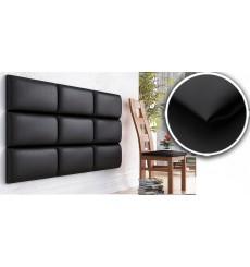 Panneau rembourré pour rêvetement mural en simili cuir en noir 60x30 cm