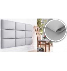 Panneau rembourré pour rêvetement mural en simili cuir en blanc 60x30 cm