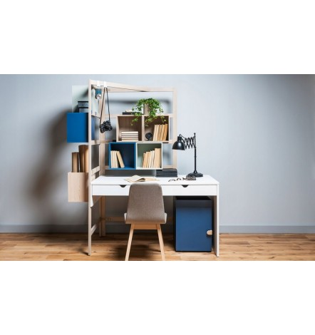 Caisson bureau NIXY blanc 39x61,5 cm bleu