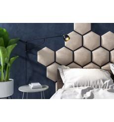 Panneau rembourré hexagonale HONEYCOMB en tissu en divers coloris 40,5x25 cm