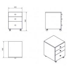 Caisson bureau 3 tiroirs MILANO 42x56 cm