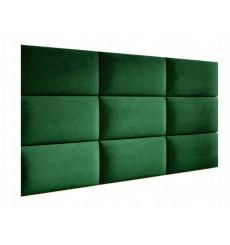Panneau rembourré pour rêvetement mural en suède vert 60x30cm