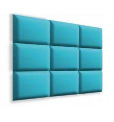 Panneau rembourré pour rêvetement mural en suède turquoise 50x30cm