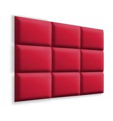 Panneau rembourré pour rêvetement mural en suède rouge 50x30cm