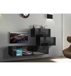 Ensemble meuble TV TROJA AN65 214 cm noir