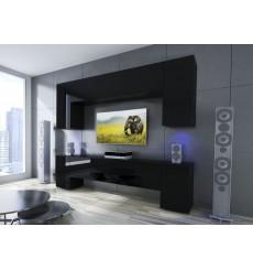 Ensemble meuble TV EKUADOR noir en plusieurs dimensions - 240/256 cm
