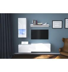 Ensemble meuble TV MODENA blanc en plusieurs dimensions - 151x 35 x 152/183 cm
