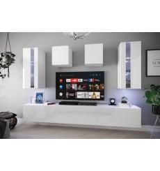 Ensemble meuble TV SMILE blanc en plusieurs dimensions - 249 x 35 x 186/206 cm