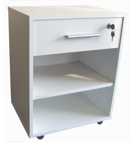 Caisson bureau LUCAS 1 tiroir 2 niches blanc 46x61 cm