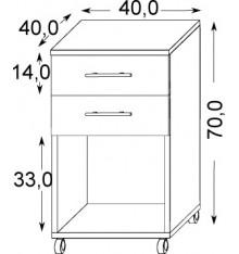 Caisson bureau 2 tiroirs + 1 niche BRUNO 40x70 cm