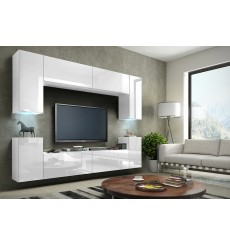 Ensemble meuble TV CONCEPT 1/HG/W/11-1B blanc brillant 256 cm