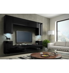 Ensemble meuble TV CONCEPT 1/HG/B /12-1B noir brillant 256 cm
