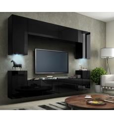 Ensemble meuble TV CONCEPT 1A noir brillant 240 cm