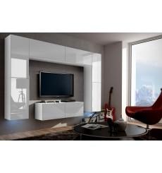Ensemble meuble TV CONCEPT 3/HG/W/2-1B blanc brillant 120 cm