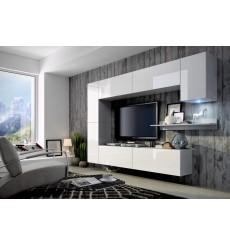 Ensemble meuble TV CONCEPT 6 blanc brillant 256 x 22-35 x 166 cm
