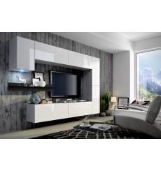 Ensemble meuble TV CONCEPT 6-6/HG/W/8-1B blanc/noir brillant 256 cm