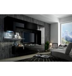 Ensemble meuble TV CONCEPT 6 noir/blanc brillant 256 cm