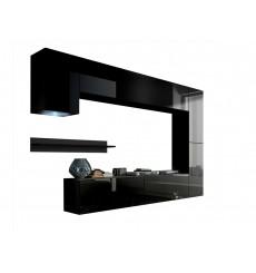 Ensemble meuble TV CONCEPT 6 noir brillant 256 cm