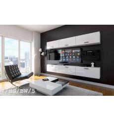 Ensemble meuble TV CONCEPT 7/HG/BW/5 blanc/noir brillant 249 cm