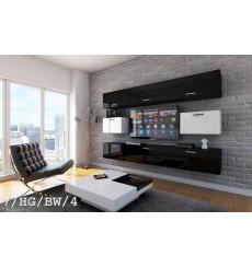 Ensemble meuble TV CONCEPT 7/HG/BW/4 noir/blanc brillant 249 cm