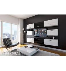 Ensemble meuble TV CONCEPT 7/HG/BW/3 blanc/noir brillant 249 cm
